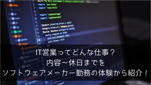 IT営業ってどんな仕事?内容~休日までをソフトウェアメーカー勤務の体験から紹介!