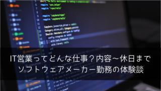 IT営業ってどんな仕事?内容~休日までソフトウェアメーカー勤務の体験談