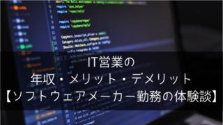 IT営業の年収・メリット・デメリット【ソフトウェアメーカー勤務の体験談】