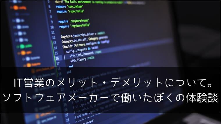IT営業のメリット・デメリットについて。ソフトウェアメーカーで働いたぼくの体験談